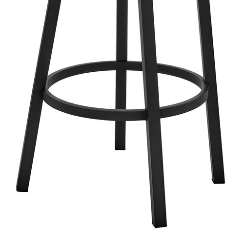 """Armen Living - Lorin 30"""" Bar Height Swivel Bar Stool in Black Finish and Grey Faux Leather"""