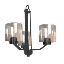 Paris 3-Light Chandelier- Matte Black Finish- Clear Cylinder Glass