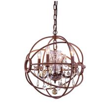 Geneva 4 light Rustic Intent Pendant Golden Teak (Smoky) Royal Cut crystal