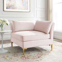 Ardent Performance Velvet Sectional Sofa Corner Chair in Pink