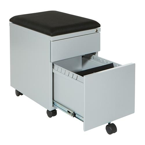 """Mobile Box/file Pedestal With Cushion, 22""""d, Grey Finish / Black Fabric"""