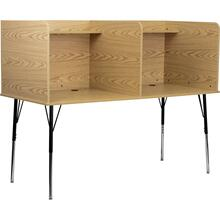 See Details - Double Wide Study Carrel with Adjustable Legs and Top Shelf in Oak Finish