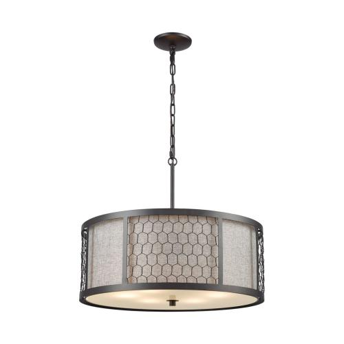 Filmore 6-Light Chandelier in Oiled Bronze with Wire Mesh and Gray Linen Fabric Shade