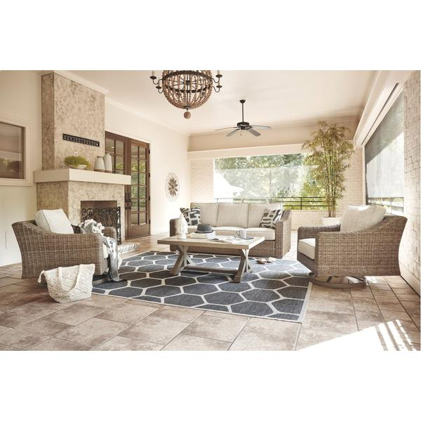 See Details - Outdoor Sofa and 2 Chairs With Coffee Table