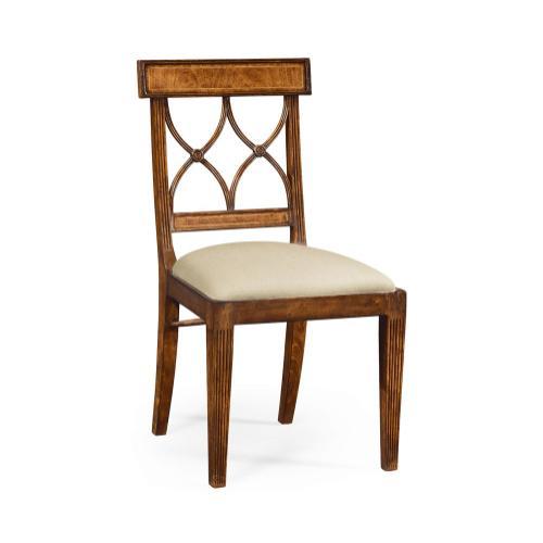 Regency crotch walnut curved back side chair