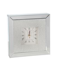 """Mirrored 10"""" Table Clock, Silver"""
