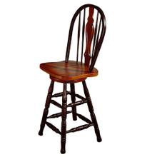 "DLU-B124-24-BCH  24"" Keyhole Barstool  Antique Black with Cherry Accents"