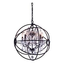 Geneva 5 light Dark Bronze Pendant Clear Royal Cut crystal