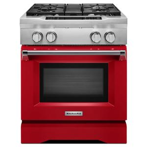 KitchenAid30'' 4-Burner Dual Fuel Freestanding Range, Commercial-Style - Signature Red