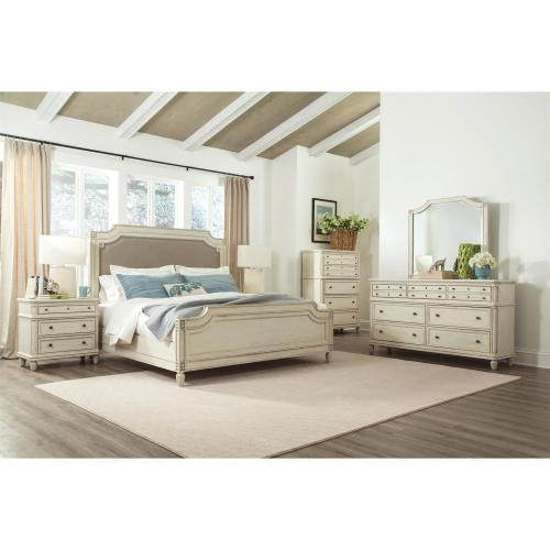 Huntleigh - California King Carved Bed Rails - Vintage White Finish
