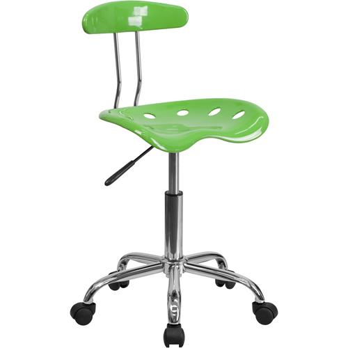 Flash Furniture - Vibrant Spicy Lime and Chrome Swivel Task Office Chair with Tractor Seat