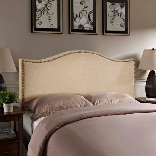 Modway - Curl Queen Nailhead Upholstered Headboard in Cafe
