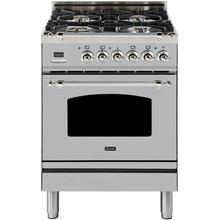 Nostalgie 24 Inch Dual Fuel Natural Gas Freestanding Range in Stainless Steel with Chrome Trim