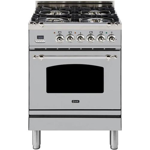 Ilve - Nostalgie 24 Inch Dual Fuel Natural Gas Freestanding Range in Stainless Steel with Chrome Trim