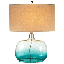 Clear & Turquoise Ombre Wide Base Table Lamp. 100W Max. 3 Way Switch.