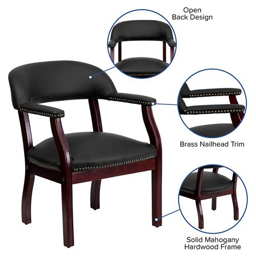 Gallery - Black LeatherSoft Conference Chair with Accent Nail Trim