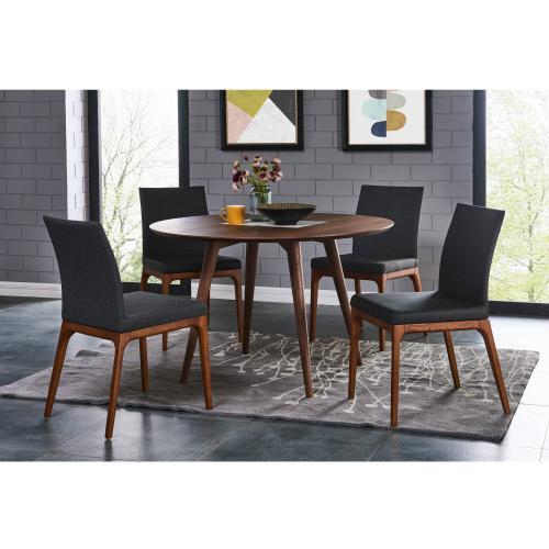 Product Image - Devon KD Fabric Dining Side Chair Walnut Legs, Night Shade