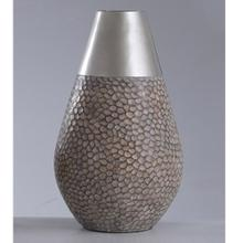 17.75 x 11 Poly Vase in Weathered Driftwood w Faux Brshd Stl Cap