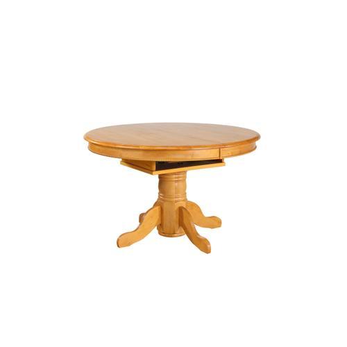 Pedestal Dining Table w/Butterfly Top - Light Oak Finish