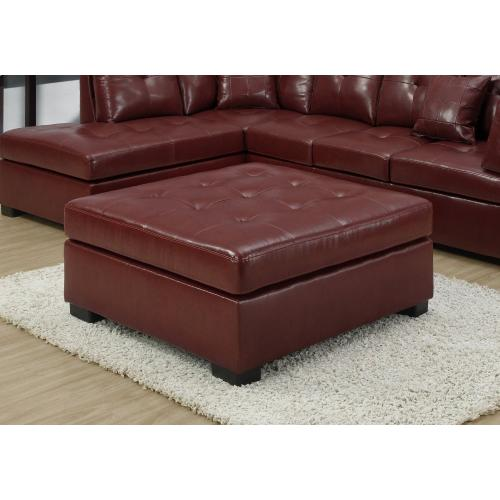 Gallery - OTTOMAN - RED LEATHER-LOOK