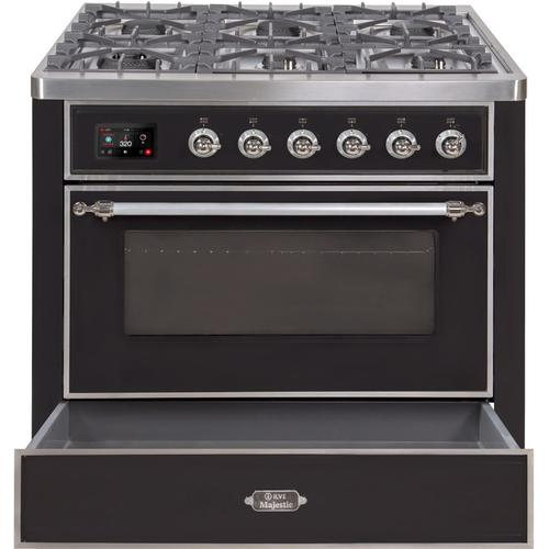 "36"" Inch Glossy Black Natural Gas Freestanding Range"