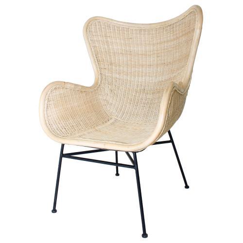 Nasiba KD Rattan Arm Chair Black Legs, Natural