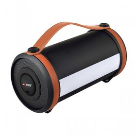 Portable Bluetooth® Rechargeable Speaker W/ LED & RGB Lighted Panels, Built-in FM Radio-Brown