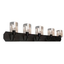 Paris 5-Light Vanity- Matte Black Finish- Clear Cylinder Glass