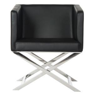 Celine Bonded Leather Chrome Cross Leg Chair - Black / Chrome