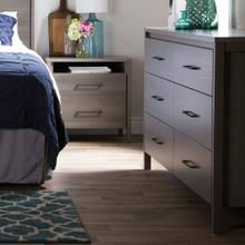 6-Drawer Double Dresser and Nightstand Set - Gray Maple