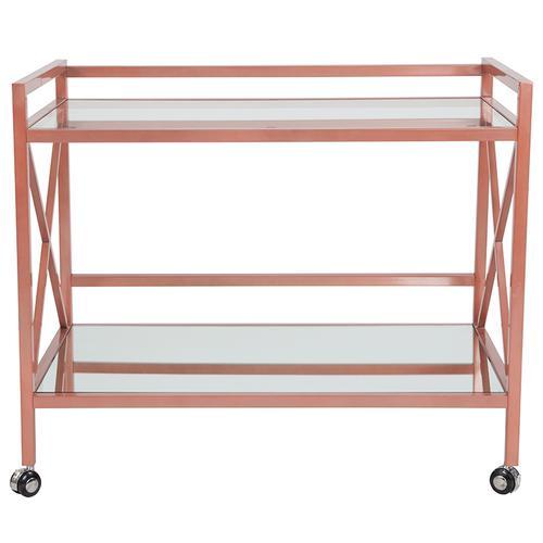 Flash Furniture - Glenwood Park Glass Kitchen Serving and Bar Cart with Rose Gold Frame