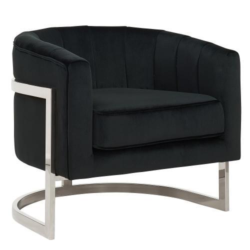 Tarra Accent Chair in Black/Chrome