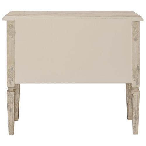 Distressed Two Drawer Farmhouse Hall Chest in Weathered Cream