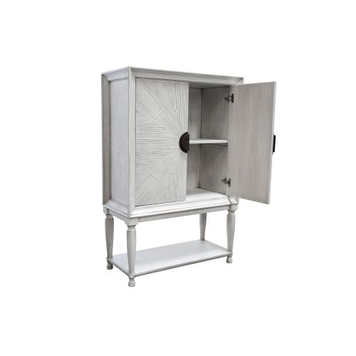 Cabinet, Available in Distressed White Finish Only.