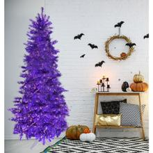 Fraser Hill Farm 7-Ft. Spooky Purple Tinsel Tree with Clear Incandescent Lighting, HH070TINTREE-1PUR