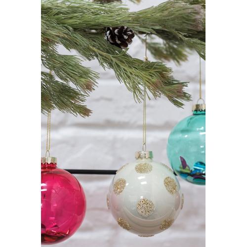 "Accent Decor - Polka Dot Ornament (Size:3"", Color:Gold)"