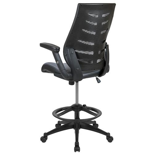 Gallery - High Back Dark Gray Mesh Spine-Back Ergonomic Drafting Chair with Adjustable Foot Ring and Adjustable Flip-Up Arms