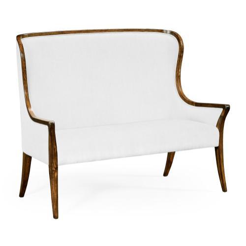 High curved back upholstered settee (COM)