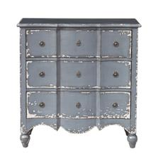See Details - Traditional Heavily Distressed Hand Painted Light Blue Three Drawer Accent Storage Chest