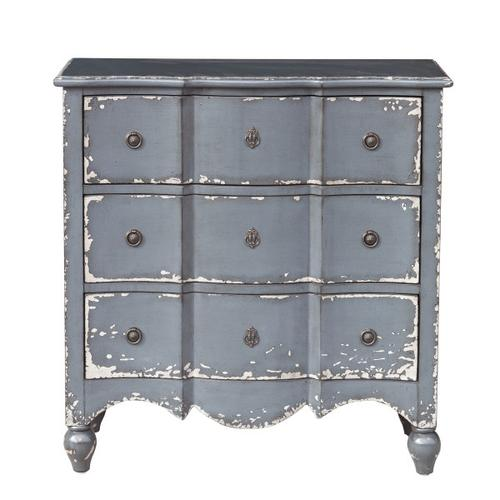 Traditional Heavily Distressed Hand Painted Light Blue Three Drawer Accent Storage Chest