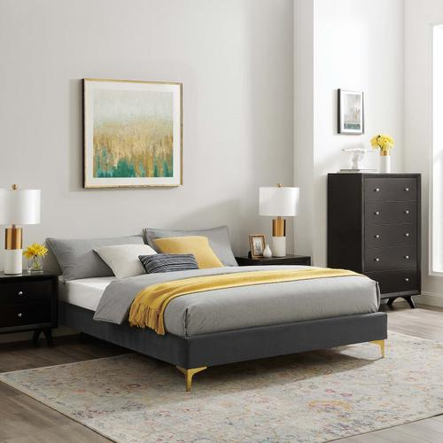 Sutton Twin Performance Velvet Bed Frame in Charcoal