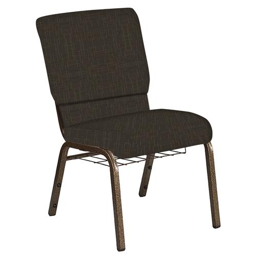 Flash Furniture - 18.5''W Church Chair in Amaze Mint Chocolate Fabric with Book Rack - Gold Vein Frame
