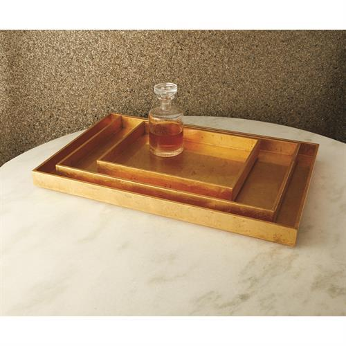Luxe Gold Leaf Rectangle Tray-Sm