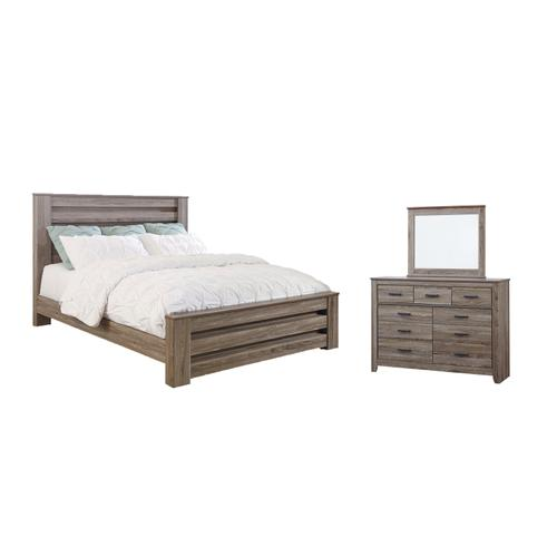 Ashley - King Panel Bed With Mirrored Dresser