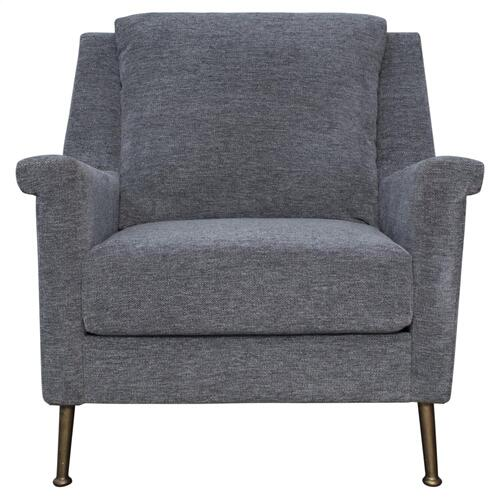 Winston KD Fabric Accent Arm Chair Gold Legs, Halle Charcoal Gray