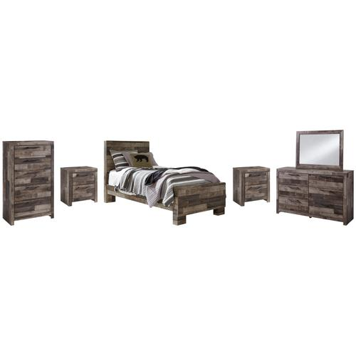 Product Image - Twin Panel Bed With Mirrored Dresser, Chest and 2 Nightstands