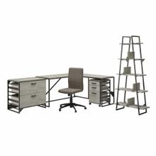 See Details - 62W L Shaped Industrial Desk and Chair Set with Storage, Cottage White