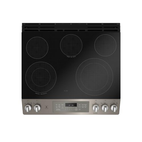 "GE 30"" Electric Slide-In Front Control True Convection Range with Storage Drawer Slate - JCS840EMES"