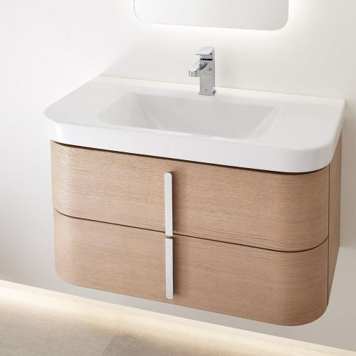 "Equility 33"" Wall-Hung Vanity - Canvas White/Natural Oak"
