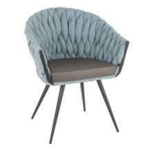 Braided Matisse Chair - Black Metal, Blue Fabric, Grey Pu